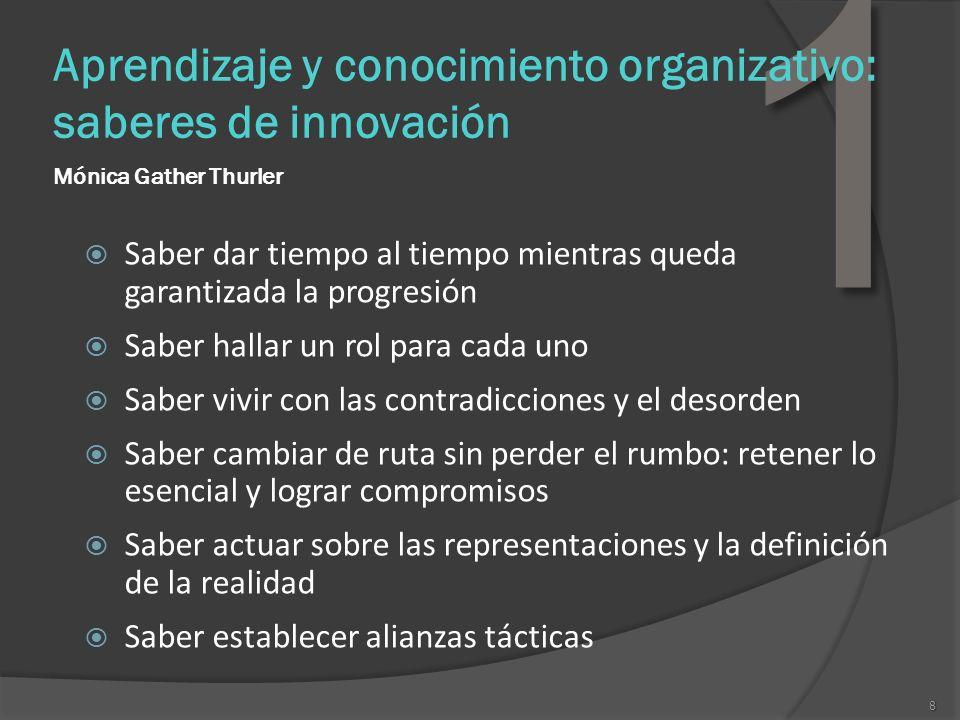 8 1 Aprendizaje y conocimiento organizativo: saberes de innovación Mónica Gather Thurler Saber dar tiempo al tiempo mientras queda garantizada la prog
