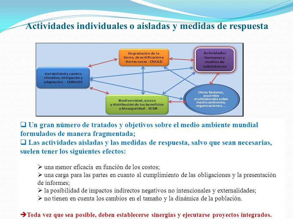 Actividades individuales o aisladas y medidas de respuesta Un gran número de tratados y objetivos sobre el medio ambiente mundial formulados de manera