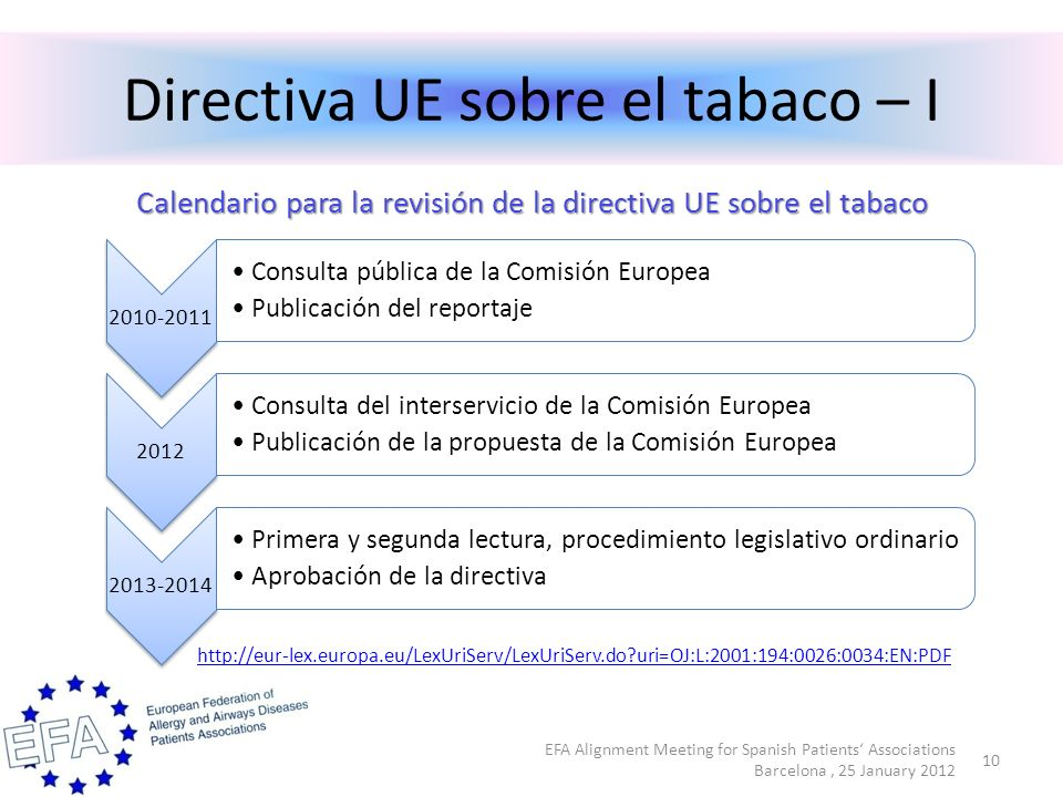 Directiva UE sobre el tabaco – I EFA Alignment Meeting for Spanish Patients Associations Barcelona, 25 January 2012 10 2010-2011 Consulta pública de la Comisión Europea Publicación del reportaje 2012 Consulta del interservicio de la Comisión Europea Publicación de la propuesta de la Comisión Europea 2013-2014 Primera y segunda lectura, procedimiento legislativo ordinario Aprobación de la directiva Calendario para la revisión de la directiva UE sobre el tabaco http://eur-lex.europa.eu/LexUriServ/LexUriServ.do uri=OJ:L:2001:194:0026:0034:EN:PDF