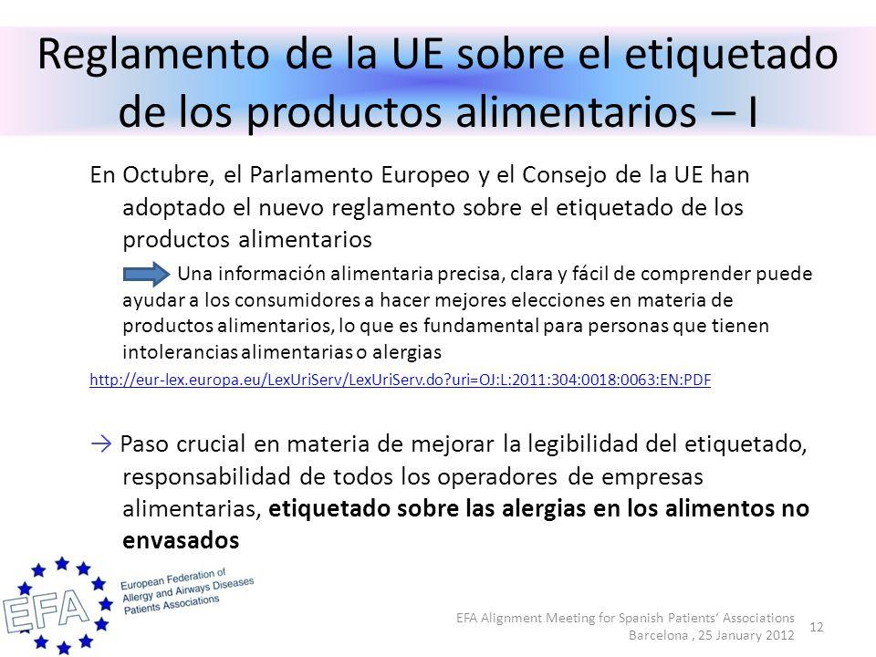 Reglamento de la UE sobre el etiquetado de los productos alimentarios – I En Octubre, el Parlamento Europeo y el Consejo de la UE han adoptado el nuevo reglamento sobre el etiquetado de los productos alimentarios Una información alimentaria precisa, clara y fácil de comprender puede ayudar a los consumidores a hacer mejores elecciones en materia de productos alimentarios, lo que es fundamental para personas que tienen intolerancias alimentarias o alergias http://eur-lex.europa.eu/LexUriServ/LexUriServ.do uri=OJ:L:2011:304:0018:0063:EN:PDF Paso crucial en materia de mejorar la legibilidad del etiquetado, responsabilidad de todos los operadores de empresas alimentarias, etiquetado sobre las alergias en los alimentos no envasados 12 EFA Alignment Meeting for Spanish Patients Associations Barcelona, 25 January 2012