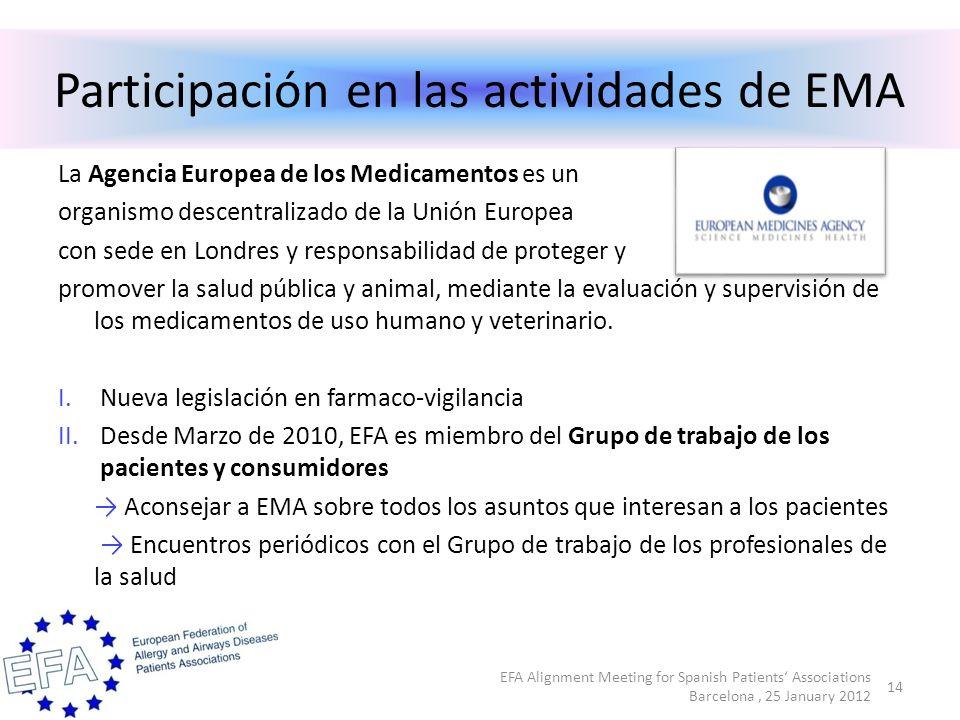 Participación en las actividades de EMA La Agencia Europea de los Medicamentos es un organismo descentralizado de la Unión Europea con sede en Londres y responsabilidad de proteger y promover la salud pública y animal, mediante la evaluación y supervisión de los medicamentos de uso humano y veterinario.