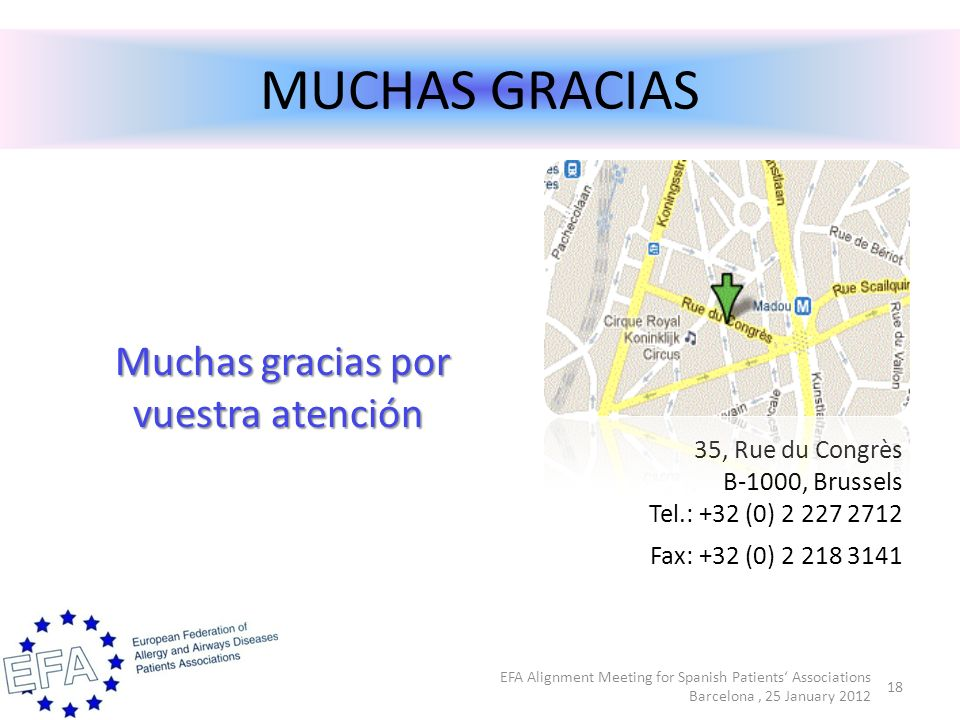 MUCHAS GRACIAS Muchas gracias por vuestra atención Muchas gracias por vuestra atención 35, Rue du Congrès B-1000, Brussels Tel.: +32 (0) 2 227 2712 Fax: +32 (0) 2 218 3141 EFA Alignment Meeting for Spanish Patients Associations Barcelona, 25 January 2012 18