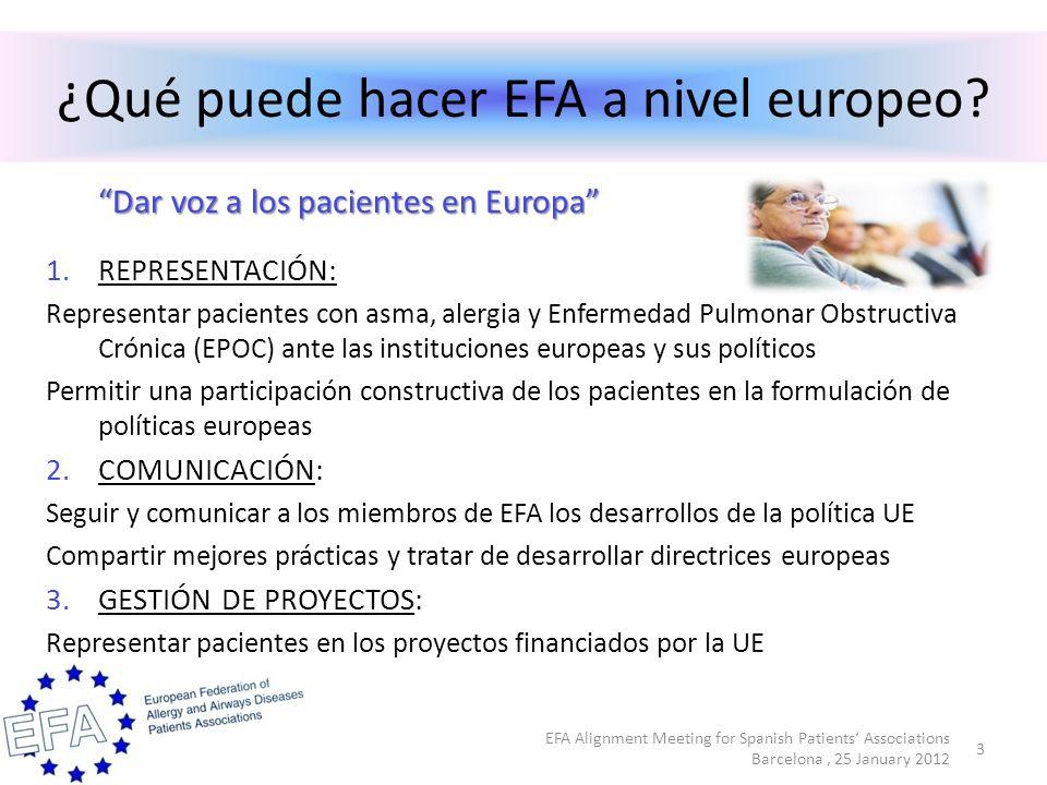 Prioridades para el 2012 Formación en Bruselas para los miembros de EFA Apoyo a un informe de propia iniciativa del PE sobre EPOC Seguimiento de las conclusiones del Consejo de la UE sobre enfermedades respiratorias crónicas en los niños Apoyo para la revisión de la directiva UE sobre el tabaco Seguimiento del reglamento UE sobre el etiquetado de los productos alimentarios Participación en actividades de la Agencia Europea de Medicamentos Representación de los intereses de EFA en otras legislaciones europeas Gestión de proyectos fundados por la UE 4 EFA Alignment Meeting for Spanish Patients Associations Barcelona, 25 January 2012
