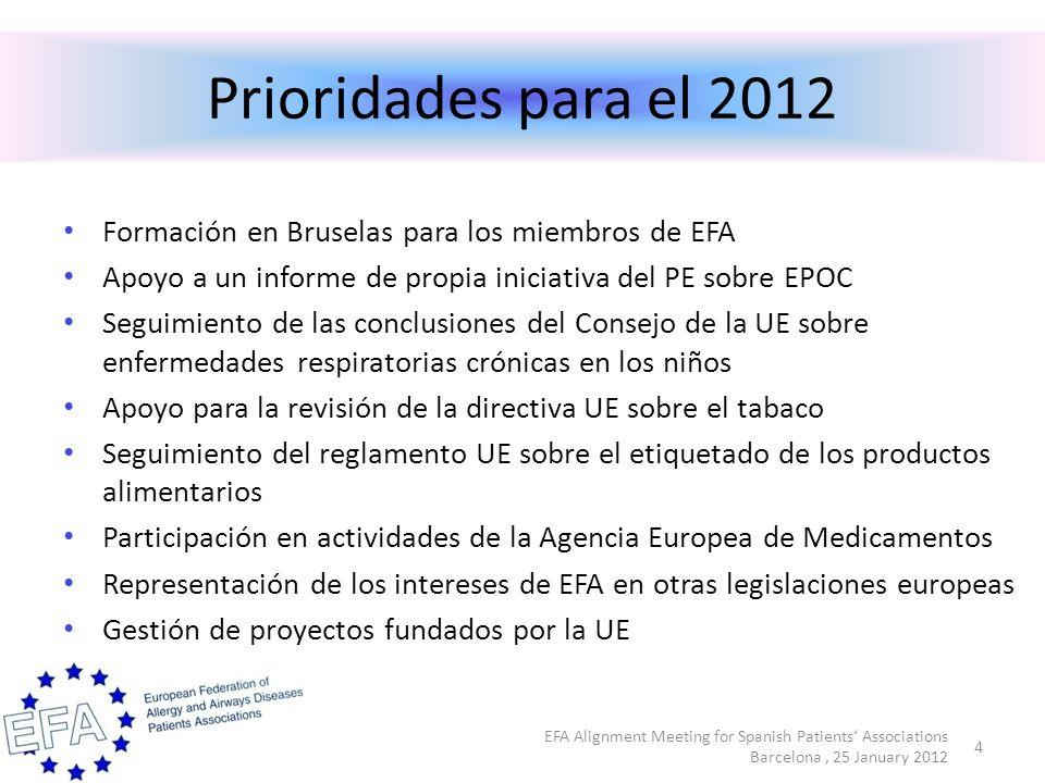 Otras legislaciones de la UE 15 EFA Alignment Meeting for Spanish Patients Associations Barcelona, 25 January 2012 Calidad del aire interior Calidad del aire exterior EU más saludable Investigación - Reglamento sobre los productos químicos - Participación en el Grupo de expertos de la Comisión - Directiva sobre la eficiencia energetica - Directiva sobre la calidad del aire ambiente - Septimo programa de acción en materia de medio ambiente (2013-2023) - Segundo plan de acción de medio ambiente y salud - Tercer programa plurianual de acción de la UE en el ámbito de la salud para el período 2014- 2020 - Octavo programa marco de investigación e innovación europeo (2014-2020) - Marco Financiero Plurianual 2014-2020