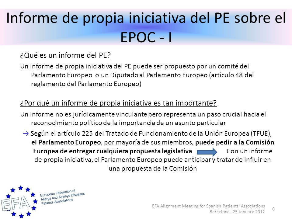 Informe de propia iniciativa del PE sobre el EPOC - I ¿Qué es un informe del PE.