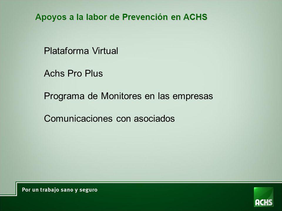 Apoyos a la labor de Prevención en ACHS Plataforma Virtual Achs Pro Plus Programa de Monitores en las empresas Comunicaciones con asociados
