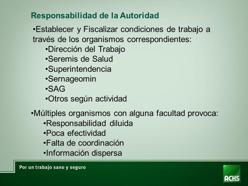 Responsabilidad de la Autoridad Múltiples organismos con alguna facultad provoca: Responsabilidad diluida Poca efectividad Falta de coordinación Infor