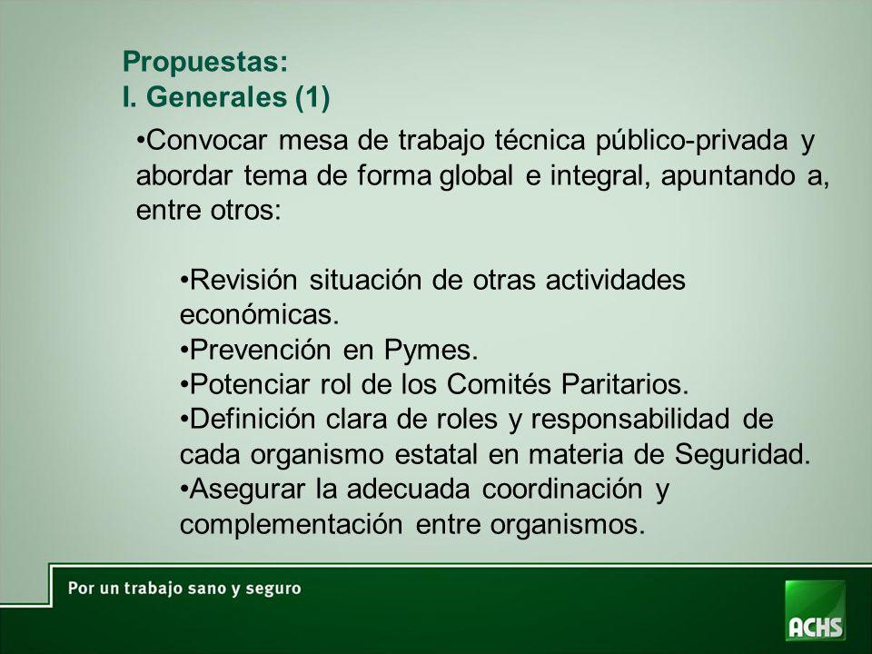 Propuestas: I. Generales (1) Convocar mesa de trabajo técnica público-privada y abordar tema de forma global e integral, apuntando a, entre otros: Rev