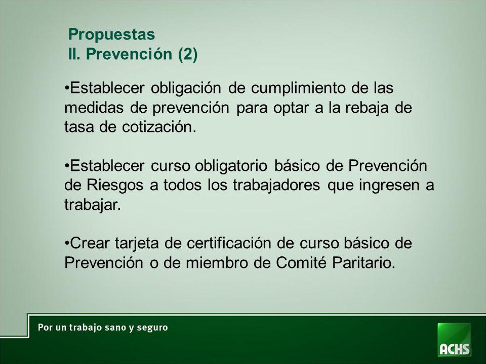 Establecer obligación de cumplimiento de las medidas de prevención para optar a la rebaja de tasa de cotización. Establecer curso obligatorio básico d