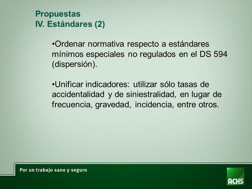 Propuestas IV. Estándares (2) Ordenar normativa respecto a estándares mínimos especiales no regulados en el DS 594 (dispersión). Unificar indicadores:
