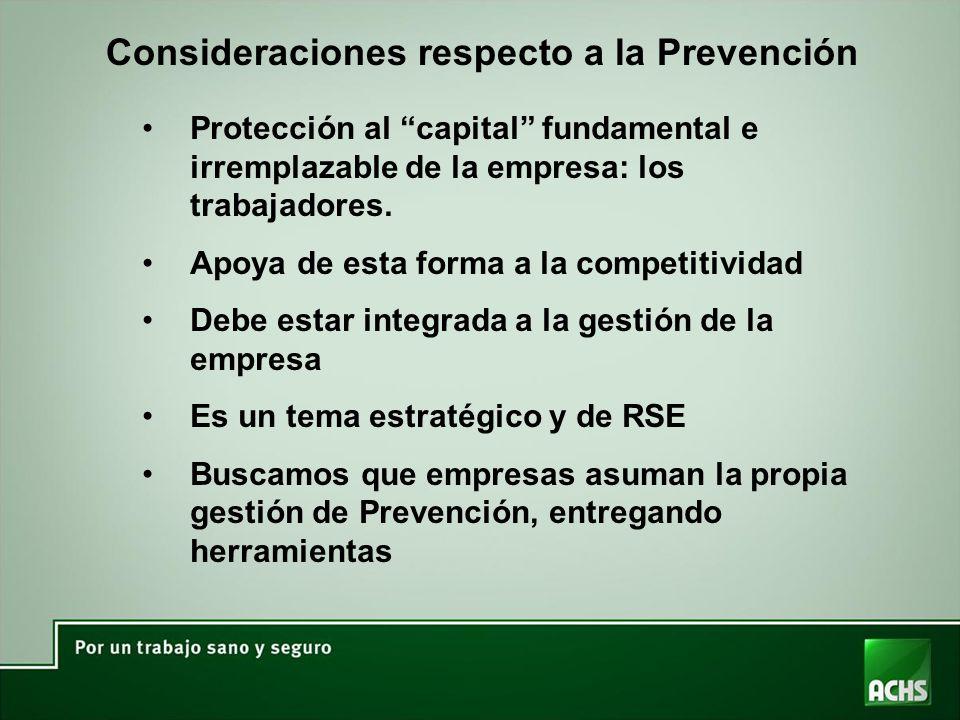 Consideraciones respecto a la Prevención Protección al capital fundamental e irremplazable de la empresa: los trabajadores. Apoya de esta forma a la c