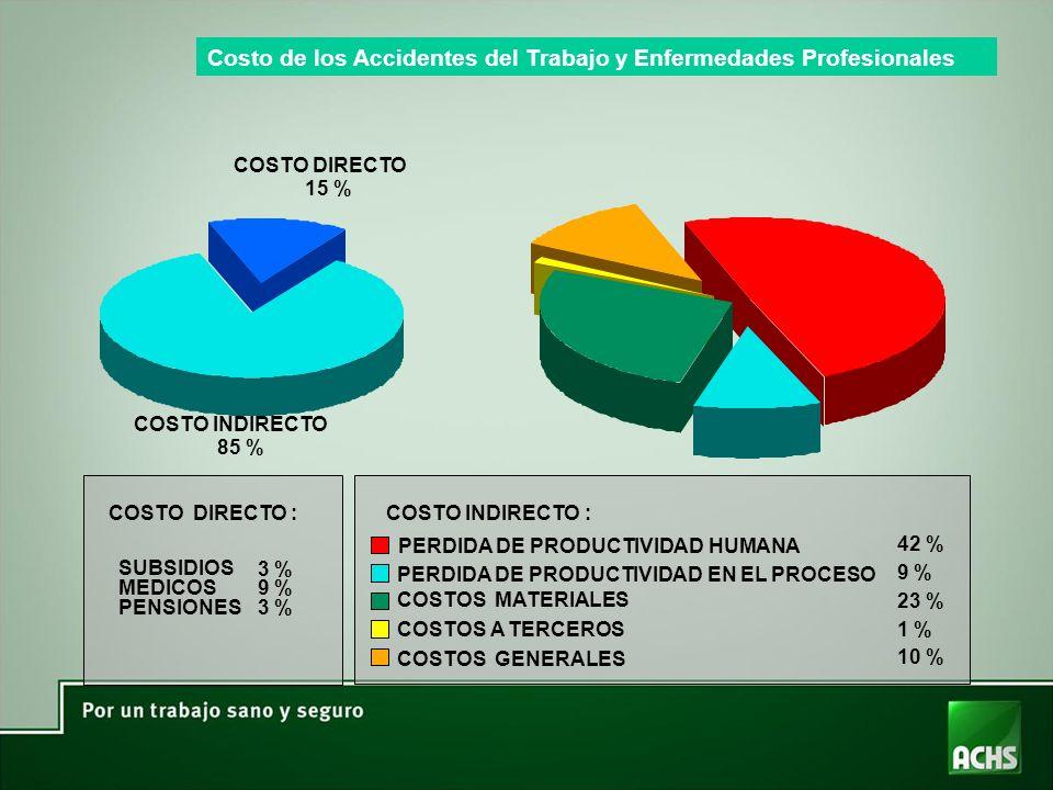 COSTO DIRECTO 15 % COSTO INDIRECTO 85 % COSTO DIRECTO : SUBSIDIOS MEDICOS PENSIONES 3 % 9 % 3 % COSTO INDIRECTO : PERDIDA DE PRODUCTIVIDAD HUMANA PERDIDA DE PRODUCTIVIDAD EN EL PROCESO COSTOS MATERIALES COSTOS A TERCEROS COSTOS GENERALES 42 % 9 % 23 % 1 % 10 % Costo de los Accidentes del Trabajo y Enfermedades Profesionales