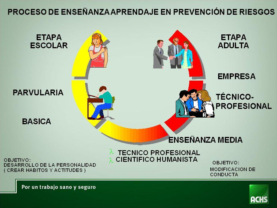 PROCESO DE ENSEÑANZA APRENDAJE EN PREVENCIÓN DE RIESGOS PARVULARIA TÉCNICO- PROFESIONAL