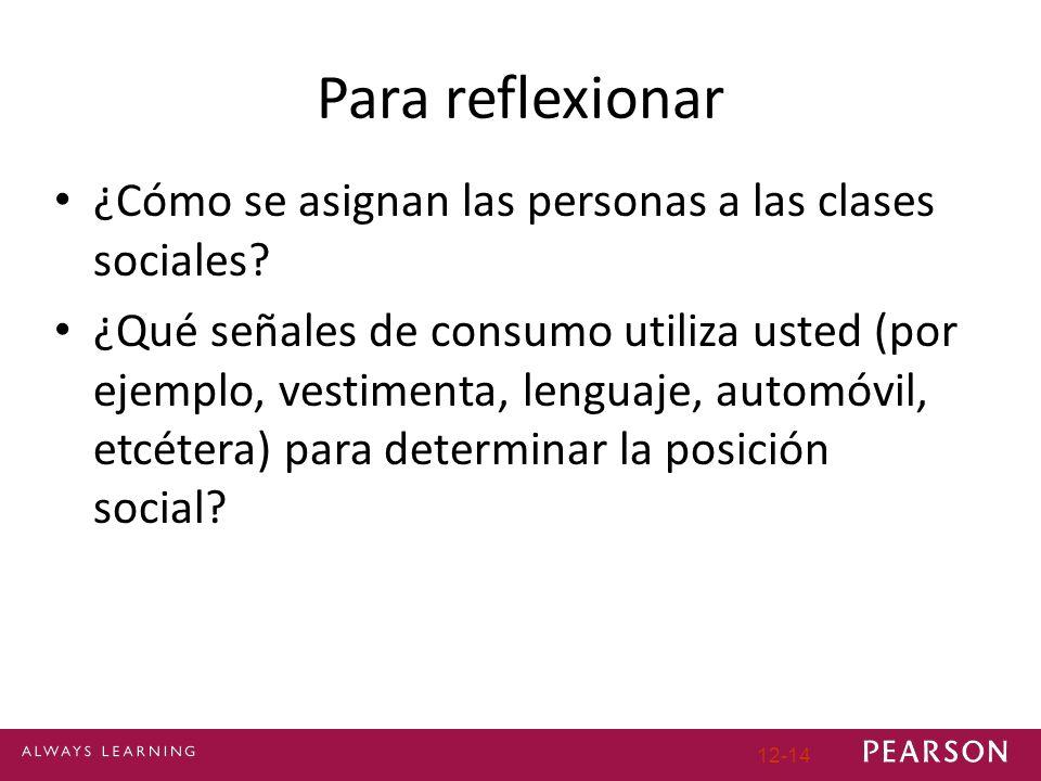12-14 Para reflexionar ¿Cómo se asignan las personas a las clases sociales? ¿Qué señales de consumo utiliza usted (por ejemplo, vestimenta, lenguaje,
