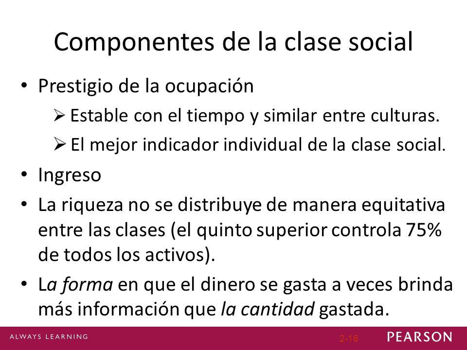 Componentes de la clase social Prestigio de la ocupación Estable con el tiempo y similar entre culturas. El mejor indicador individual de la clase soc