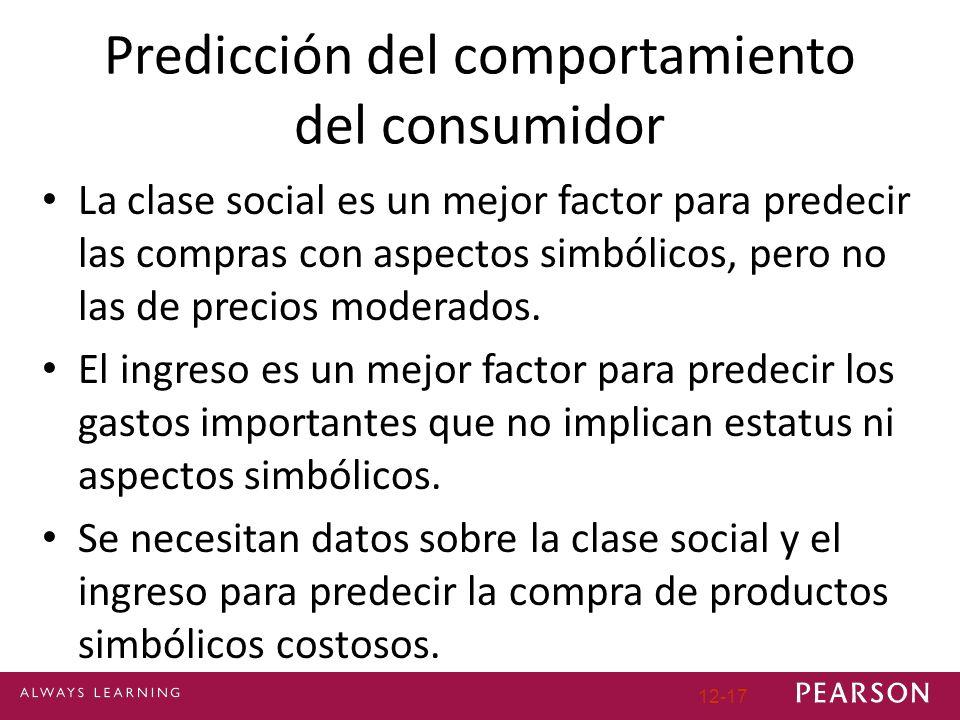 12-17 Predicción del comportamiento del consumidor La clase social es un mejor factor para predecir las compras con aspectos simbólicos, pero no las de precios moderados.