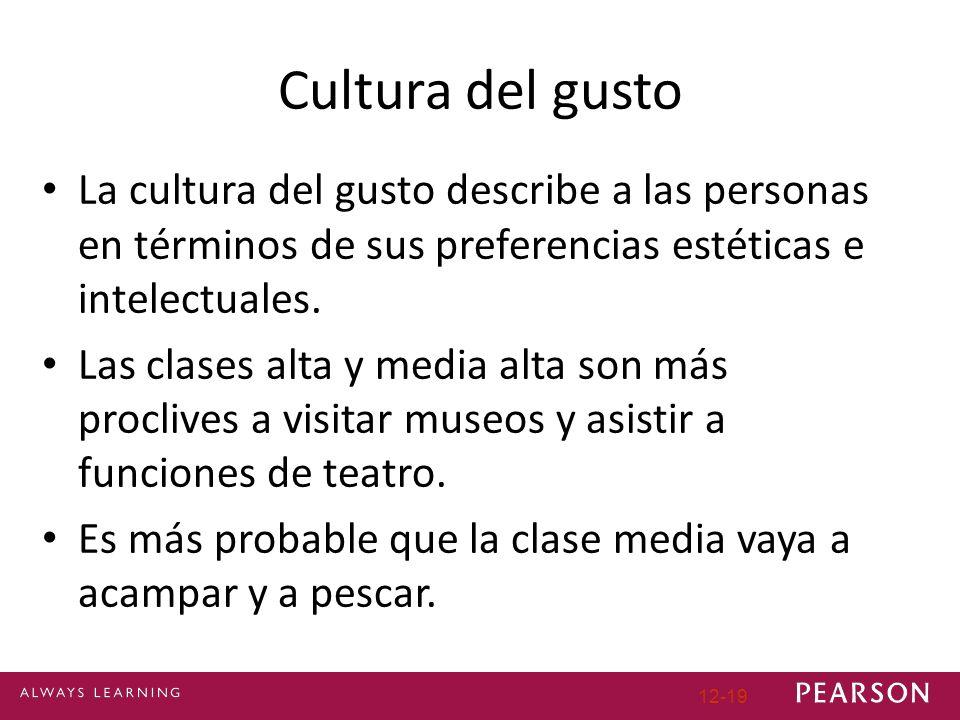 12-19 Cultura del gusto La cultura del gusto describe a las personas en términos de sus preferencias estéticas e intelectuales. Las clases alta y medi