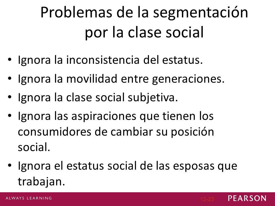 12-23 Problemas de la segmentación por la clase social Ignora la inconsistencia del estatus. Ignora la movilidad entre generaciones. Ignora la clase s