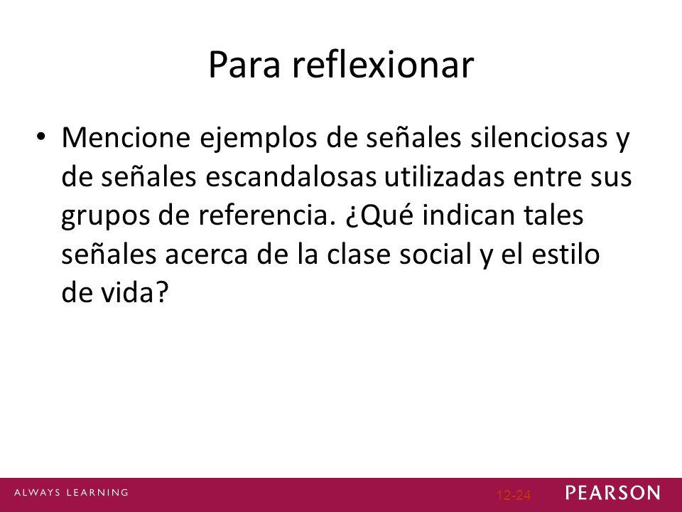 Para reflexionar Mencione ejemplos de señales silenciosas y de señales escandalosas utilizadas entre sus grupos de referencia.