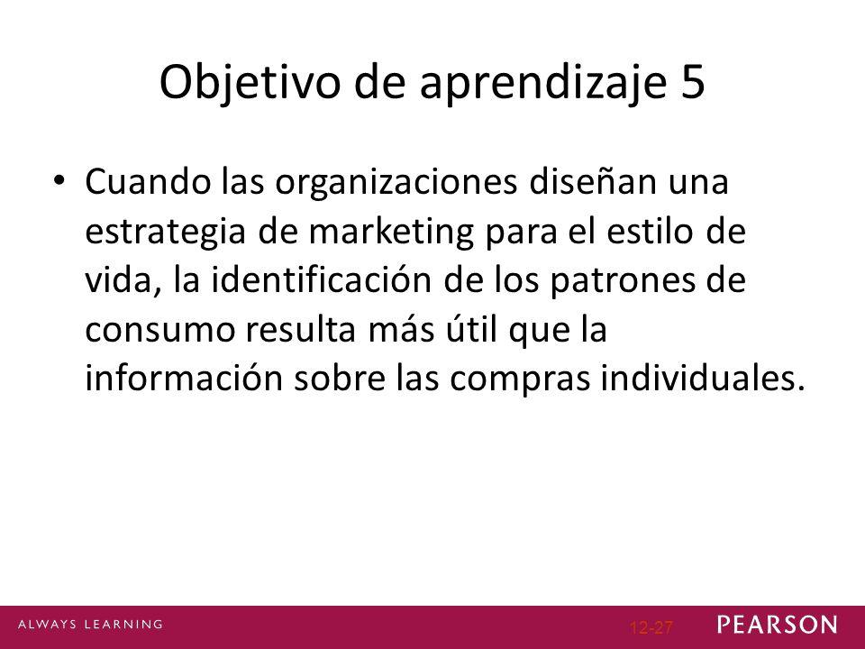 Objetivo de aprendizaje 5 Cuando las organizaciones diseñan una estrategia de marketing para el estilo de vida, la identificación de los patrones de consumo resulta más útil que la información sobre las compras individuales.
