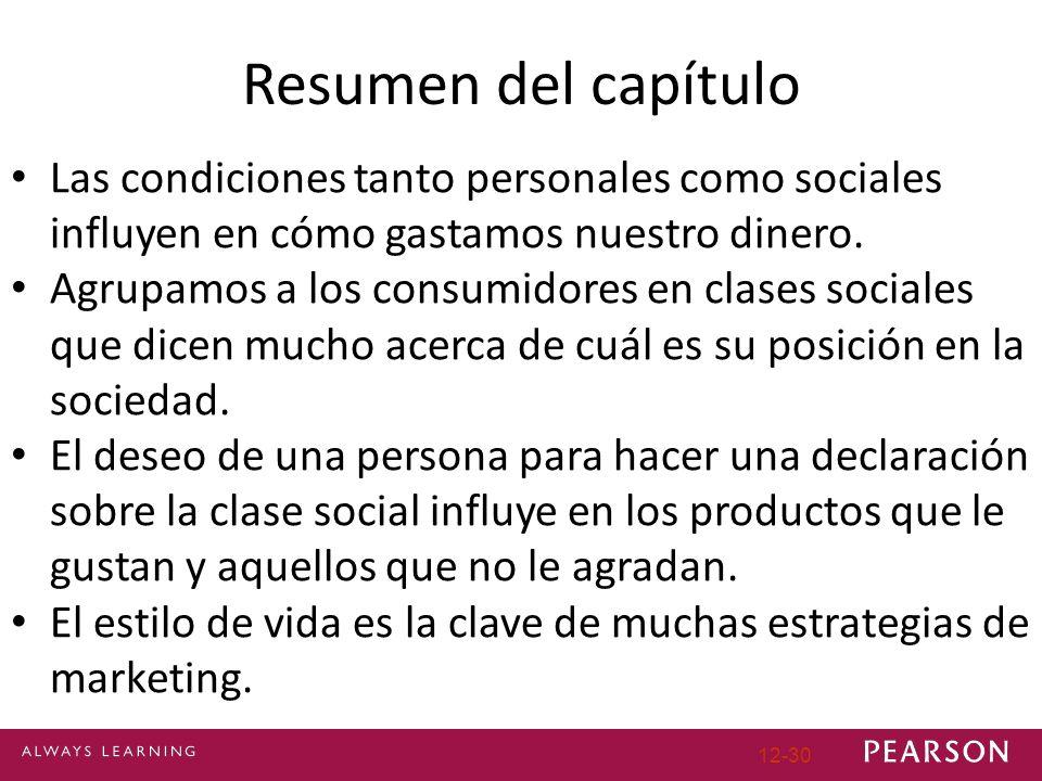 12-30 Resumen del capítulo Las condiciones tanto personales como sociales influyen en cómo gastamos nuestro dinero. Agrupamos a los consumidores en cl
