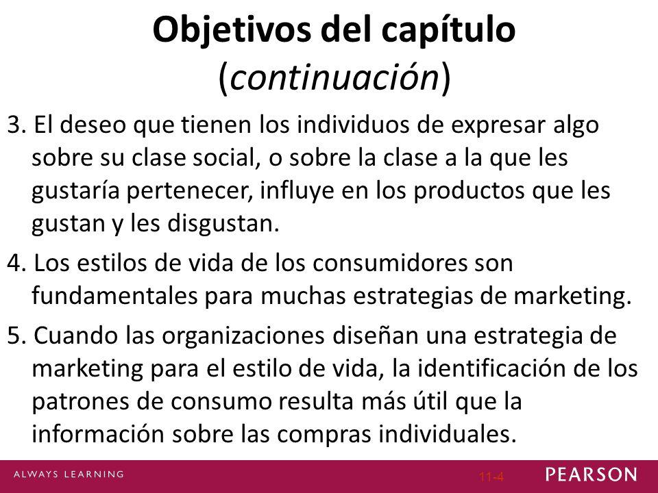 Objetivos del capítulo (continuación) 3. El deseo que tienen los individuos de expresar algo sobre su clase social, o sobre la clase a la que les gust