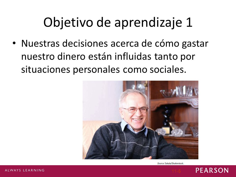 Objetivo de aprendizaje 1 Nuestras decisiones acerca de cómo gastar nuestro dinero están influidas tanto por situaciones personales como sociales. 11-