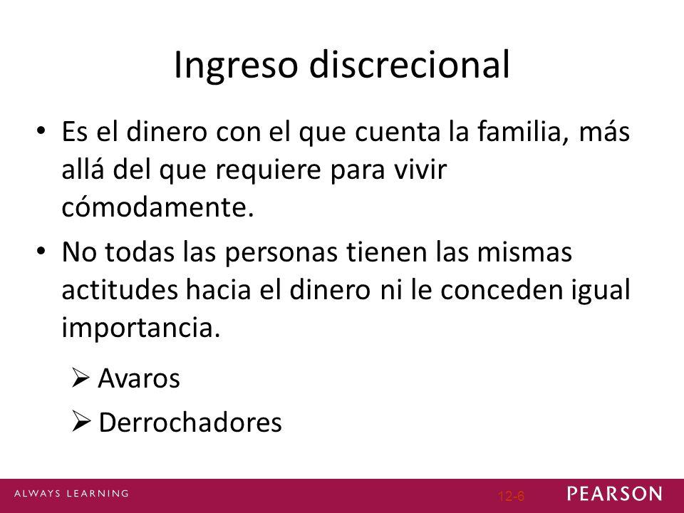 12-6 Ingreso discrecional Es el dinero con el que cuenta la familia, más allá del que requiere para vivir cómodamente. No todas las personas tienen la