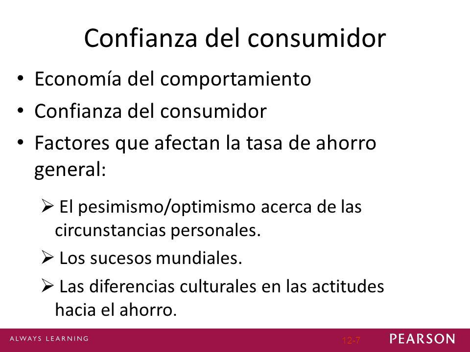 12-7 Confianza del consumidor Economía del comportamiento Confianza del consumidor Factores que afectan la tasa de ahorro general : El pesimismo/optimismo acerca de las circunstancias personales.