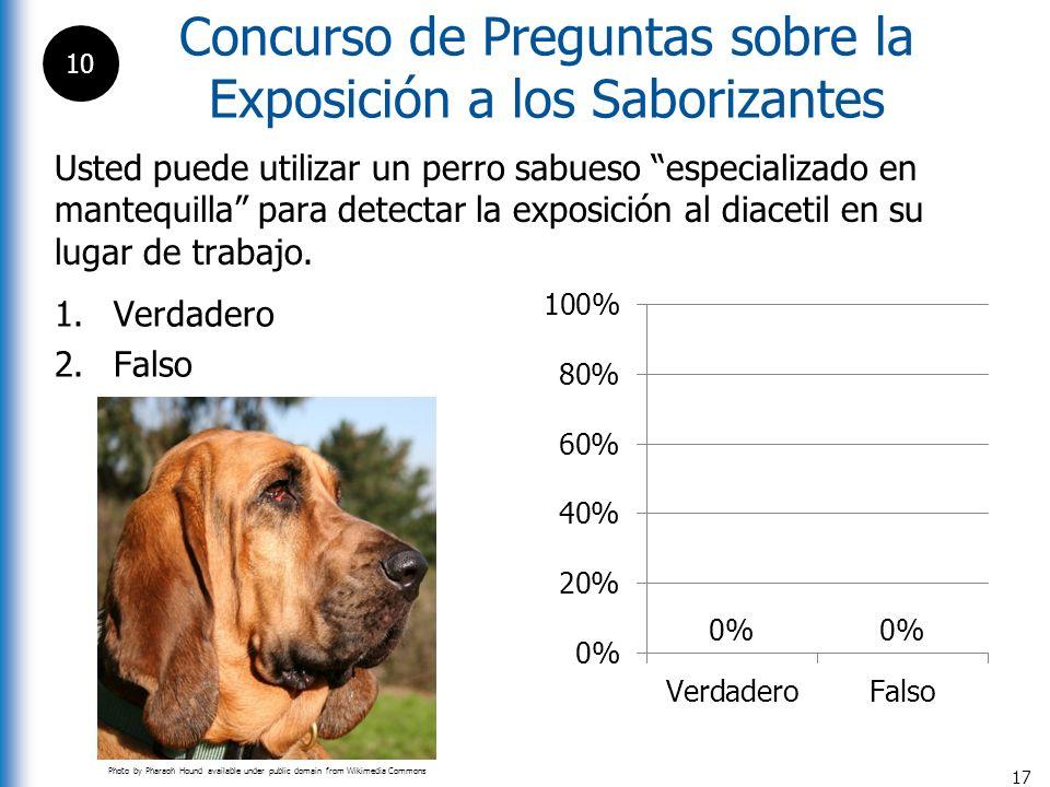 17 Usted puede utilizar un perro sabueso especializado en mantequilla para detectar la exposición al diacetil en su lugar de trabajo. 1.Verdadero 2.Fa