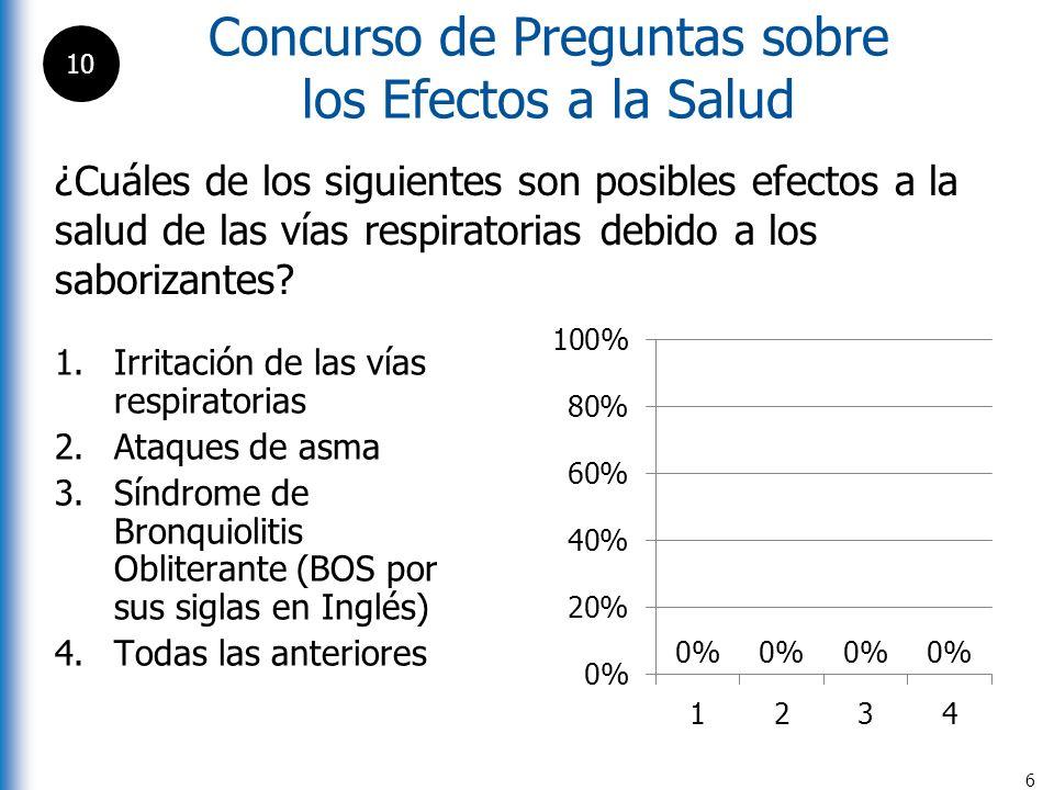 Concurso de Preguntas sobre los Efectos a la Salud 7 ¿Cuál de las siguientes afirmaciones es verdadera sobre el Síndrome de Bronquiolitis Obliterante (BOS por sus siglas en Inglés) .