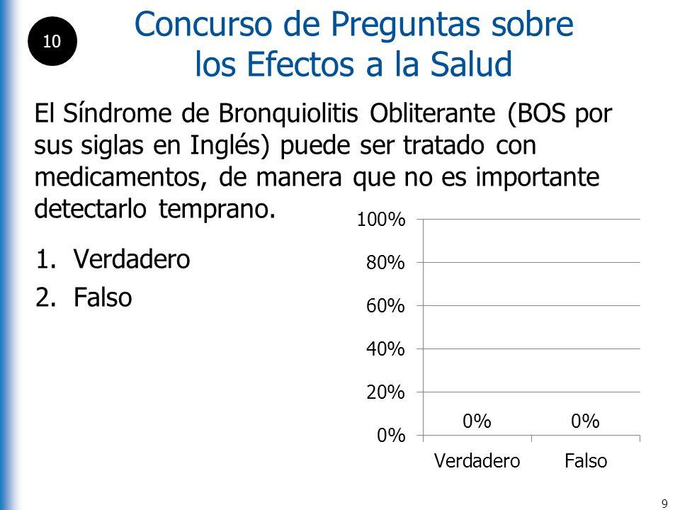 Concurso de Preguntas sobre los Efectos a la Salud 9 El Síndrome de Bronquiolitis Obliterante (BOS por sus siglas en Inglés) puede ser tratado con med
