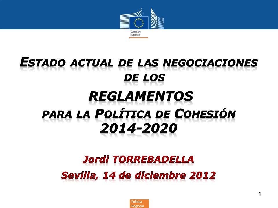 Política Regional y Urbana 12 Para empezar a debatir estos temas a tres bandas en el marco del proceso de codecisión, en septiembre se inciaron los trilogues informales entre la Comisión, el Consejo y el PE.