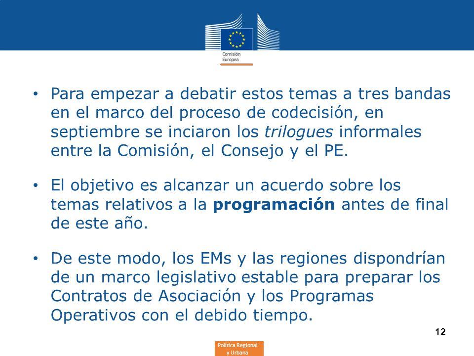 Política Regional y Urbana 12 Para empezar a debatir estos temas a tres bandas en el marco del proceso de codecisión, en septiembre se inciaron los tr