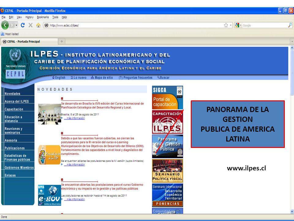 PANORAMA DE LA GESTION PUBLICA DE AMERICA LATINA www.ilpes.cl