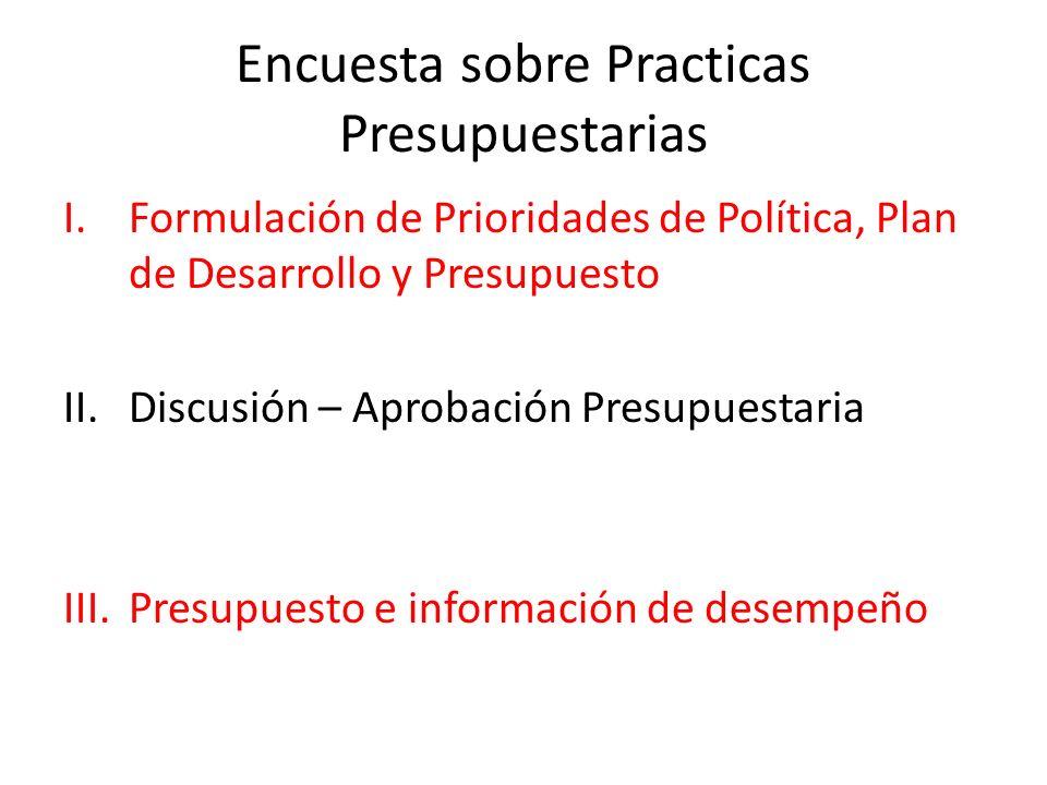 Encuesta sobre Practicas Presupuestarias I.Formulación de Prioridades de Política, Plan de Desarrollo y Presupuesto II.Discusión – Aprobación Presupuestaria III.Presupuesto e información de desempeño