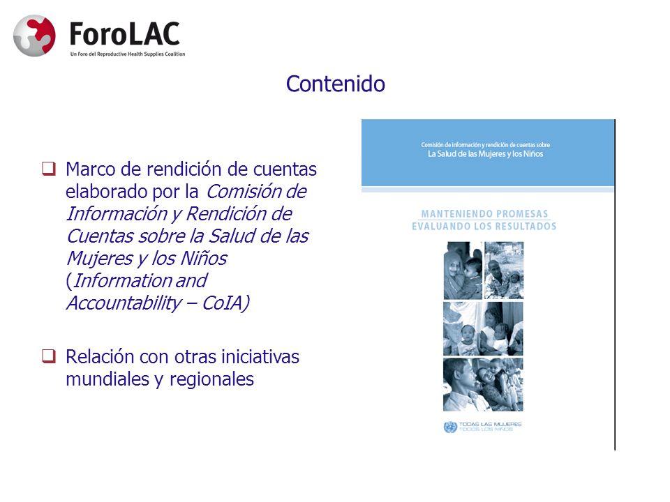 Contenido Marco de rendición de cuentas elaborado por la Comisión de Información y Rendición de Cuentas sobre la Salud de las Mujeres y los Niños (Inf