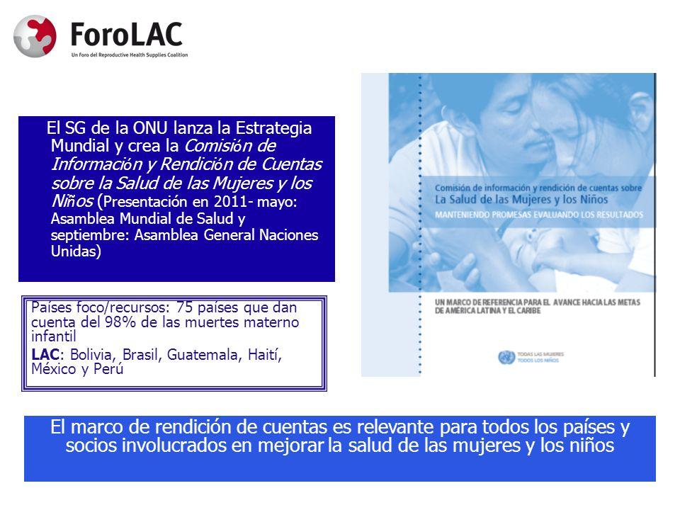Países foco/recursos: 75 países que dan cuenta del 98% de las muertes materno infantil LAC: Bolivia, Brasil, Guatemala, Haití, México y Perú El SG de