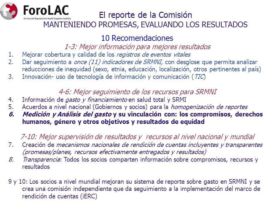 El reporte de la Comisión MANTENIENDO PROMESAS, EVALUANDO LOS RESULTADOS 10 Recomendaciones 1-3: Mejor información para mejores resultados 1.Mejorar c