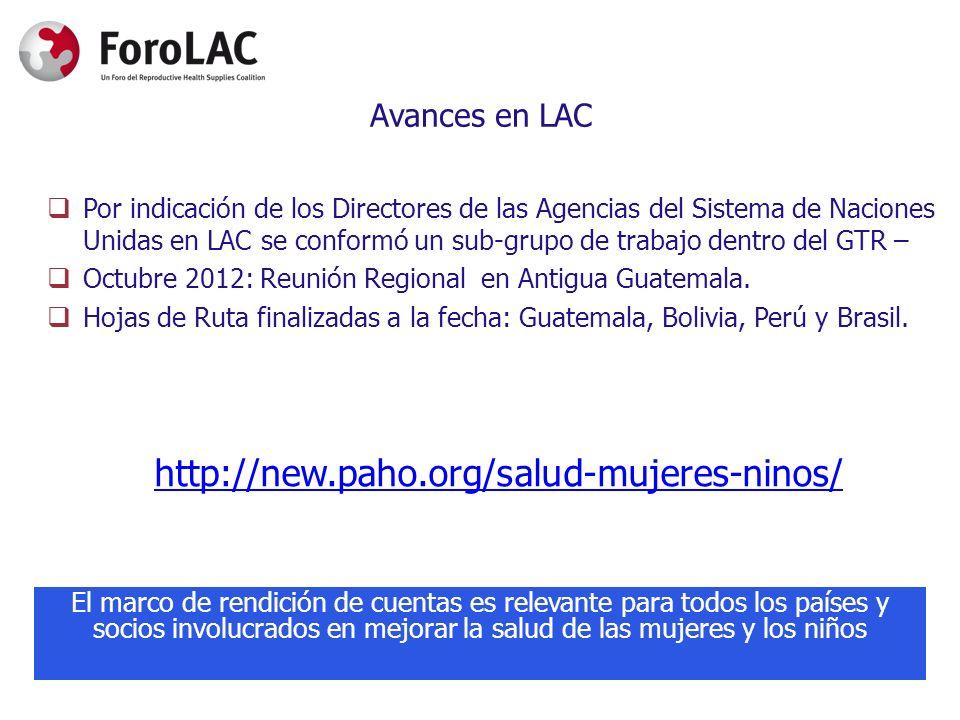 Avances en LAC Por indicación de los Directores de las Agencias del Sistema de Naciones Unidas en LAC se conformó un sub-grupo de trabajo dentro del G