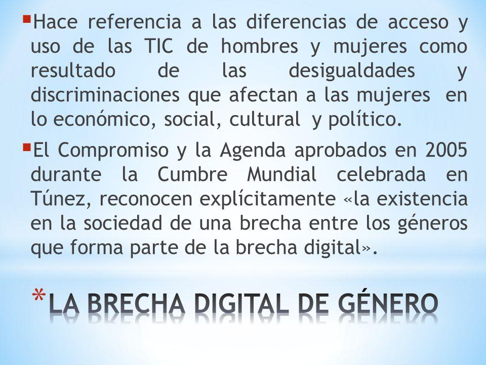 Hace referencia a las diferencias de acceso y uso de las TIC de hombres y mujeres como resultado de las desigualdades y discriminaciones que afectan a