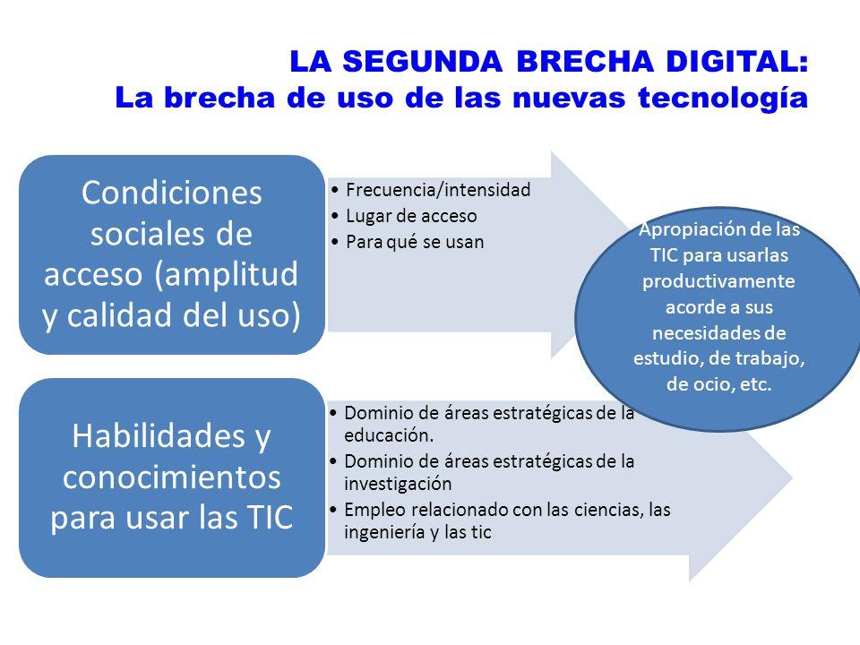 LA SEGUNDA BRECHA DIGITAL: La brecha de uso de las nuevas tecnología Frecuencia/intensidad Lugar de acceso Para qué se usan Condiciones sociales de ac