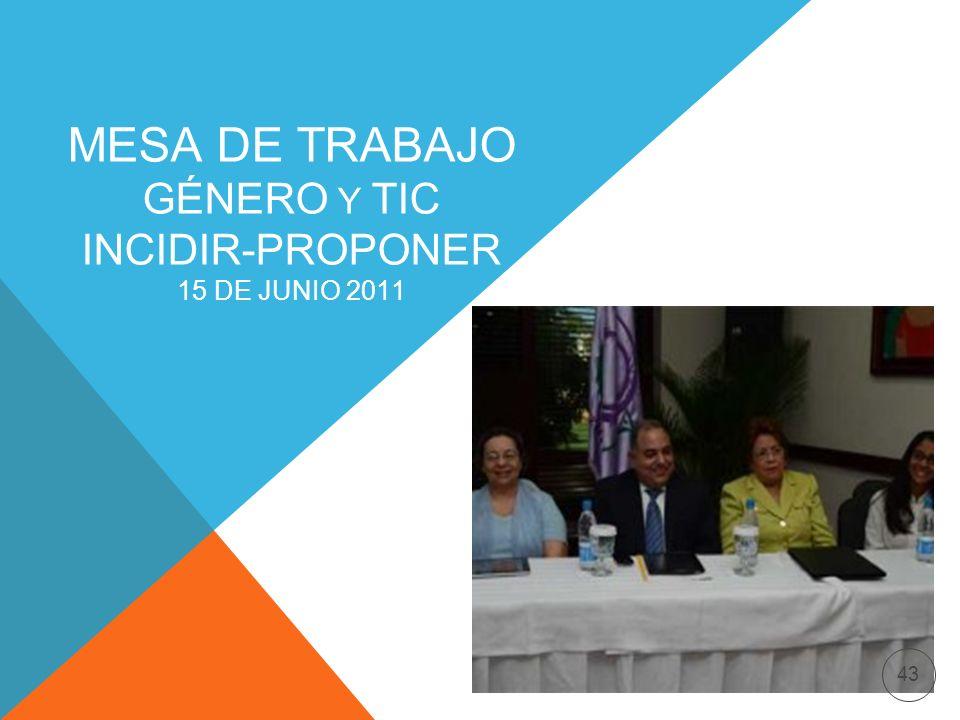 MESA DE TRABAJO GÉNERO Y TIC INCIDIR-PROPONER 15 DE JUNIO 2011 43