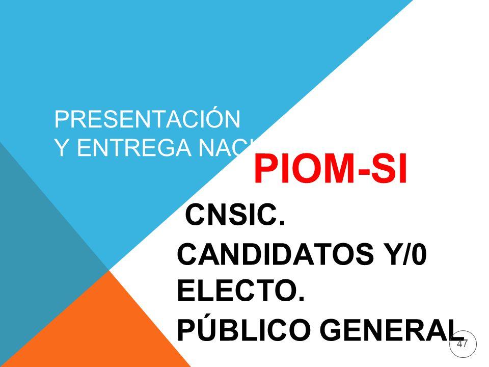 PRESENTACIÓN Y ENTREGA NACIONAL PIOM-SI CNSIC. CANDIDATOS Y/0 ELECTO. PÚBLICO GENERAL 47