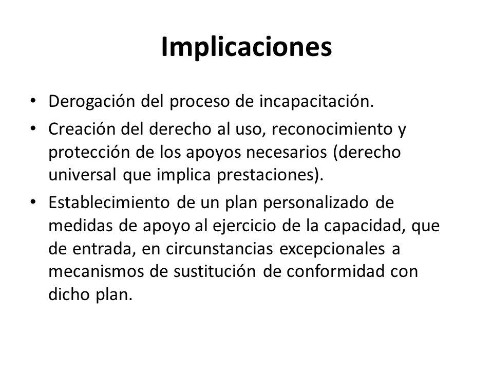 Implicaciones Derogación del proceso de incapacitación. Creación del derecho al uso, reconocimiento y protección de los apoyos necesarios (derecho uni