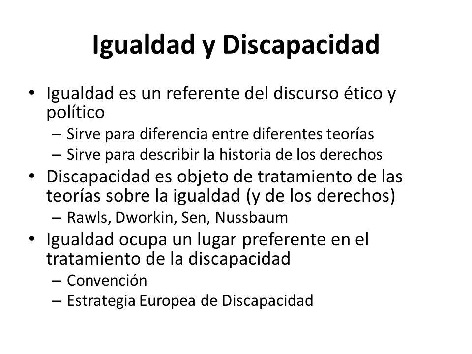 Igualdad y Discapacidad Igualdad es un referente del discurso ético y político – Sirve para diferencia entre diferentes teorías – Sirve para describir