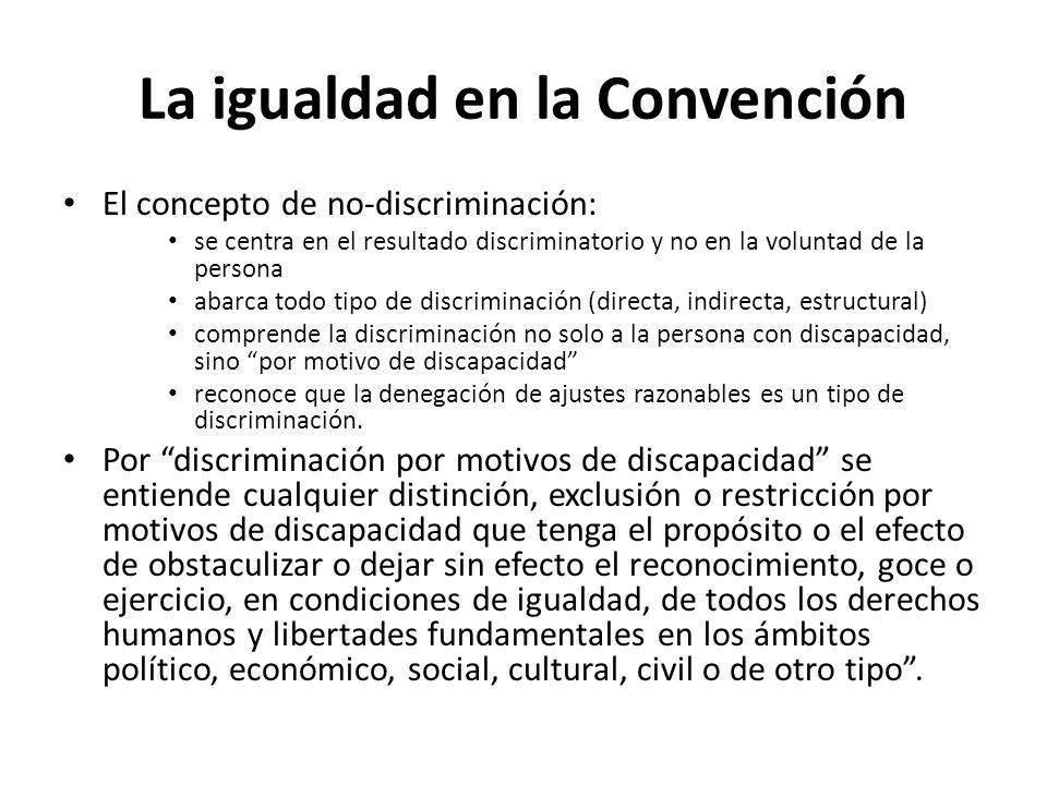 La igualdad en la Convención El concepto de no-discriminación: se centra en el resultado discriminatorio y no en la voluntad de la persona abarca todo