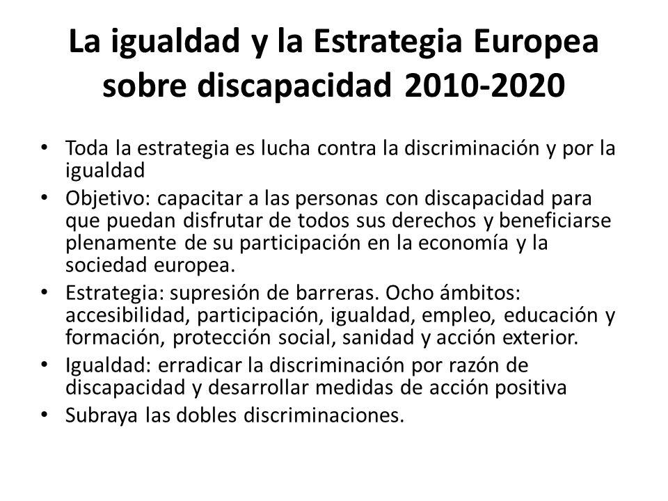 La igualdad y la Estrategia Europea sobre discapacidad 2010-2020 Toda la estrategia es lucha contra la discriminación y por la igualdad Objetivo: capa