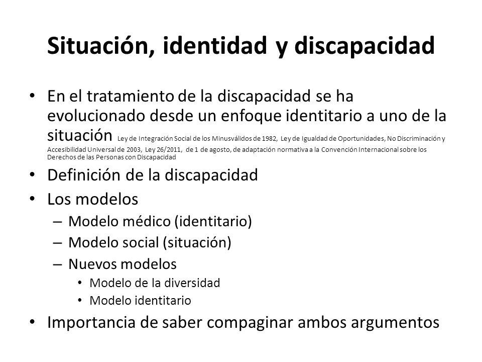Situación, identidad y discapacidad En el tratamiento de la discapacidad se ha evolucionado desde un enfoque identitario a uno de la situación Ley de