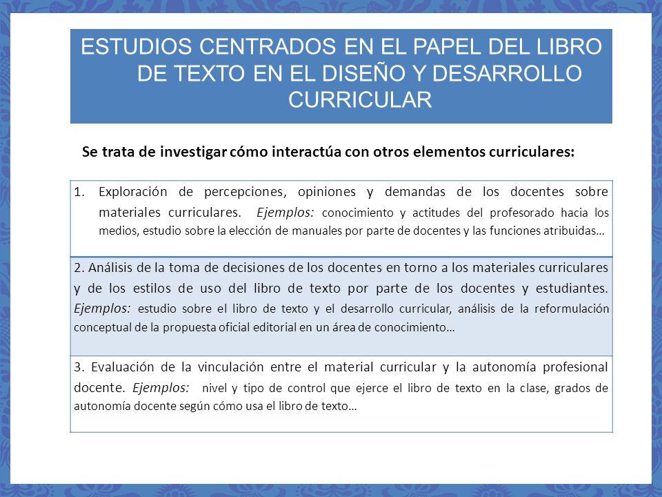 1.Exploración de percepciones, opiniones y demandas de los docentes sobre materiales curriculares. Ejemplos: conocimiento y actitudes del profesorado